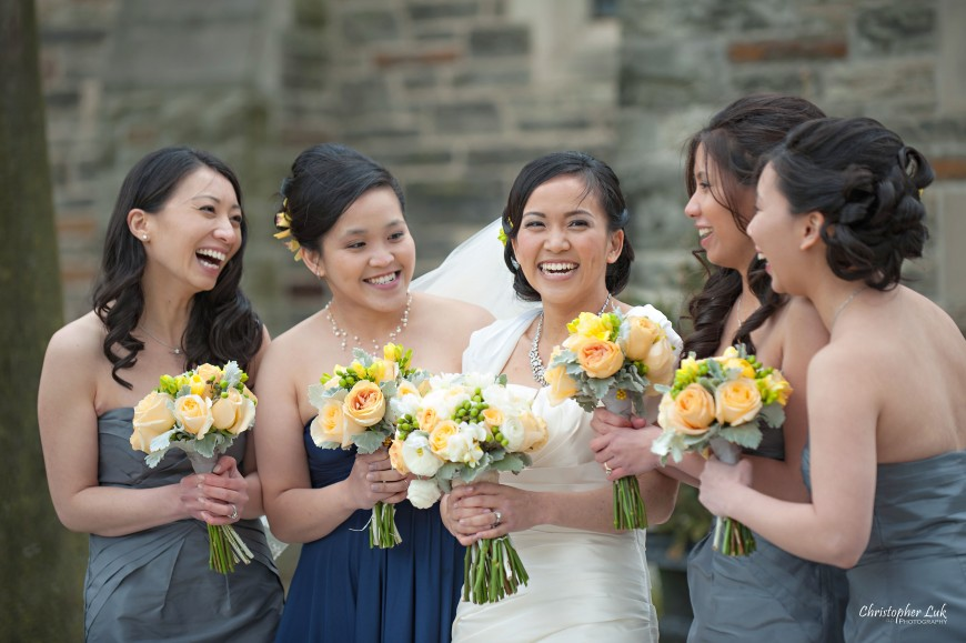 Christopher Luk 2013 - Emily and Ken's Spring Wedding - Glenview Presbyterian Church and Chateau Le Jardin Conference & Event Centre Venue - Toronto Wedding Portrait Lifestyle Photographer - Bride and Bridesmaids Creative Relaxed Portrait Session Smile Laugh Talking Candid Photojournalism