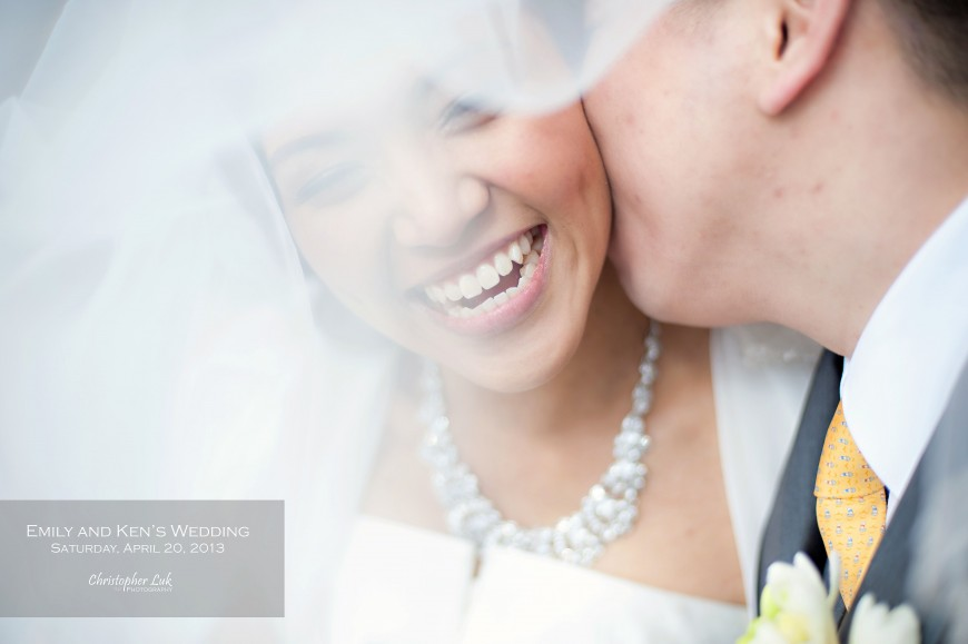 Christopher Luk 2013 - Emily and Ken's Spring Wedding - Glenview Presbyterian Church and Chateau Le Jardin Conference & Event Centre Venue - Toronto Wedding Portrait Lifestyle Photographer - Bride and Groom Relaxed Creative Portrait Session Laugh Smile Kiss Veil Title