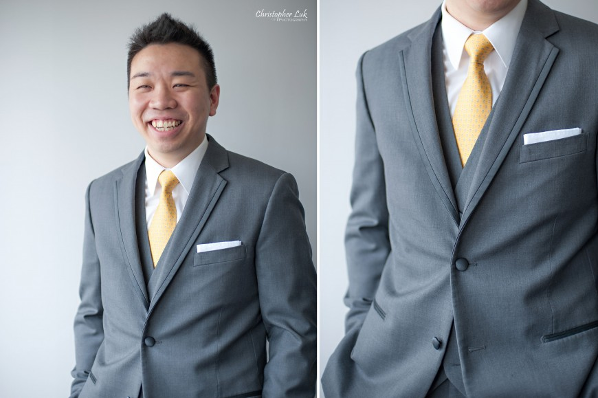 Christopher Luk 2013 - Emily and Ken's Spring Wedding - Glenview Presbyterian Church and Chateau Le Jardin Conference & Event Centre Venue - Toronto Wedding Portrait Lifestyle Photographer - Groom Relaxed Creative Portrait Session Smile Laugh Grey 3-Piece Suit