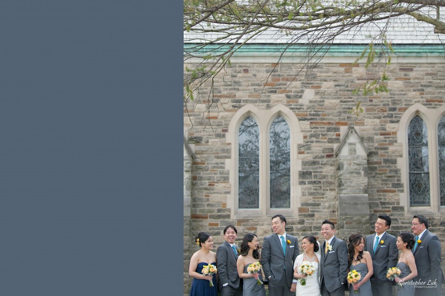 Christopher Luk 2013 - Emily and Ken's Spring Wedding - Glenview Presbyterian Church and Chateau Le Jardin Conference & Event Centre Venue - Toronto Wedding Portrait Lifestyle Photographer - Bride and Groom Relaxed Creative Portrait Session Church Bridal Party Groomsmen Bridesmaids Together Candid Photojournalism
