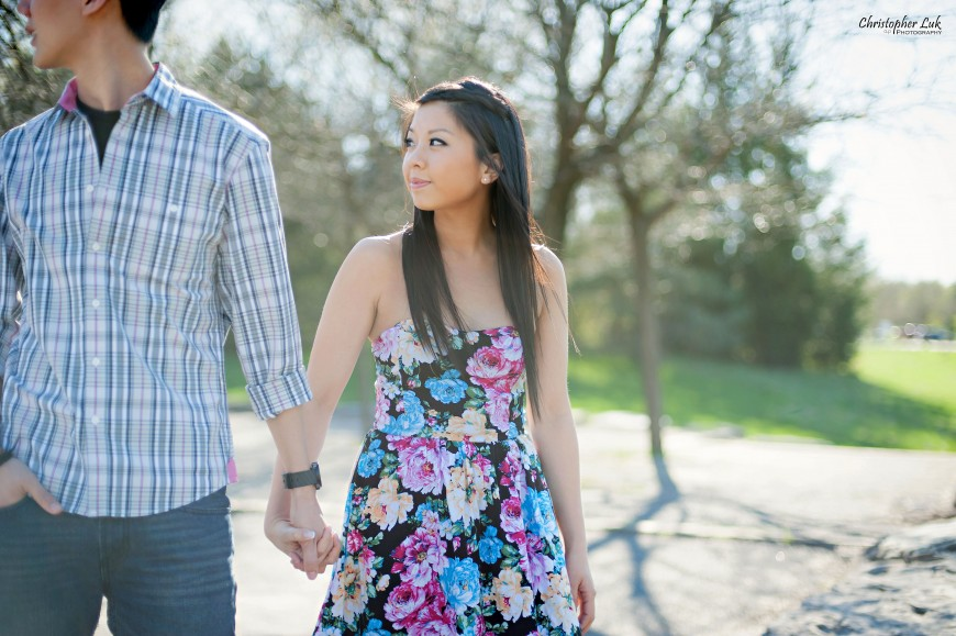 Christopher Luk 2013 - Engagement Session - Yanto and Jon - Richmond Hill Markham York Region - Livingstone Park - Bride and Groom Fiance Walking Relaxed Creative Portrait Wedding