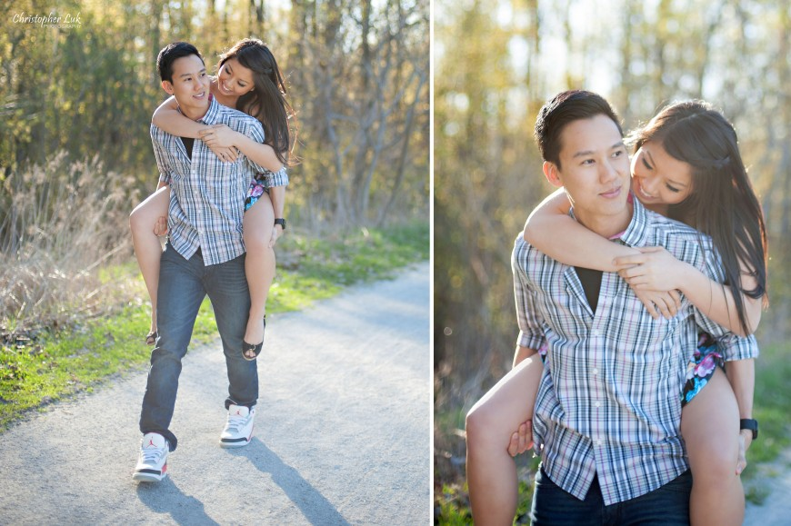 Christopher Luk 2013 - Engagement Session - Yanto and Jon - Richmond Hill Markham York Region - Livingstone Park - Bride and Groom Fiancee Relaxed Creative Portrait Wedding Piggyback Ride