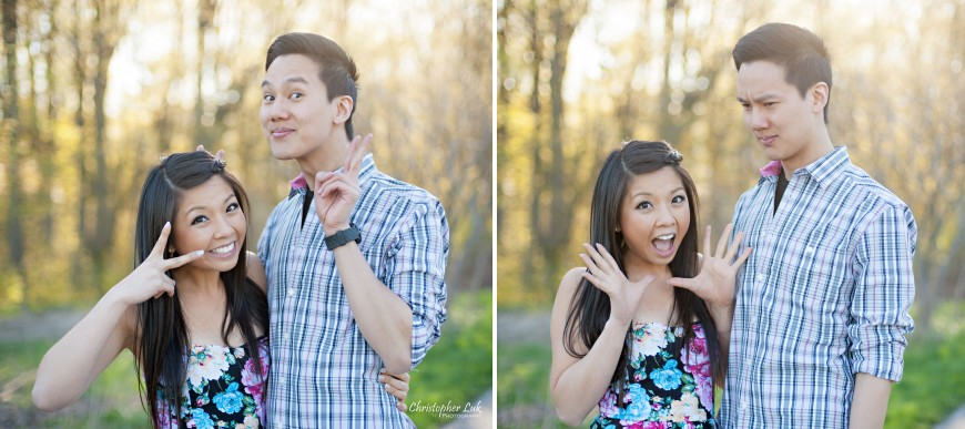 Christopher Luk 2013 - Engagement Session - Yanto and Jon - Richmond Hill Markham York Region - Livingstone Park - Bride and Groom Fiancee Relaxed Creative Portrait Wedding Funny Faces Expressions