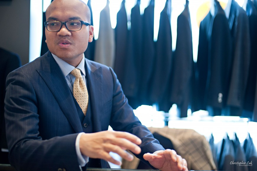Christopher Luk Wedding - Garrison Bespoke - Toronto Financial District Custom Suit Shirt Tuxedo Sportcoat Overcoat Shoes Tailors - Michael Nguyen Davie Tham JS Vann - Soks Walking Through the Process Blue Pinstripe