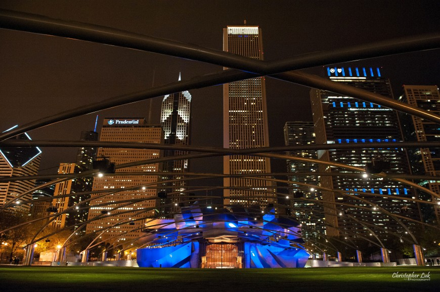 Christopher Luk - Harvest Bible Chapel Elgin Fellowship University 2012 - Millennium Park Cloud Gate Chicago Illinois - Jay Pritzker Pavilion Blue Night City Skyline