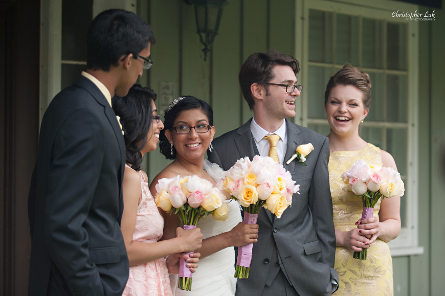 Christopher Luk 2013 - Dinithi and Steve's Wedding - Estates of Sunnybrook Markham Museum - Toronto Wedding Event Photographer - Bride and Groom Bridal Party Relaxed Creative Portrait Session Siblings Sisters Brothers Laugh Smile
