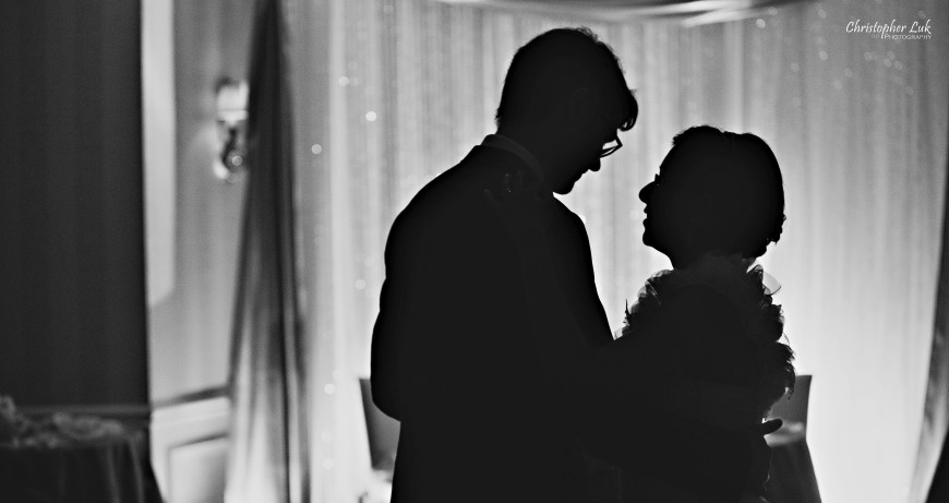 Christopher Luk 2013 - Dinithi and Steve's Wedding - Estates of Sunnybrook Markham Museum - Toronto Wedding Event Photographer - Bride and Groom First Dance Candid Photojournalism Natural Black and White Silhouette Backlit