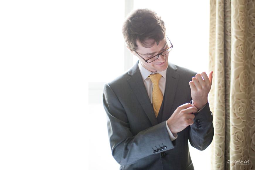 Christopher Luk 2013 - Dinithi and Steve's Wedding - Estates of Sunnybrook Markham Museum - Toronto Wedding Event Photographer - Groom Getting Ready Cuff Links Jacket Blazer Sleeve Gold Tie Grey Suit