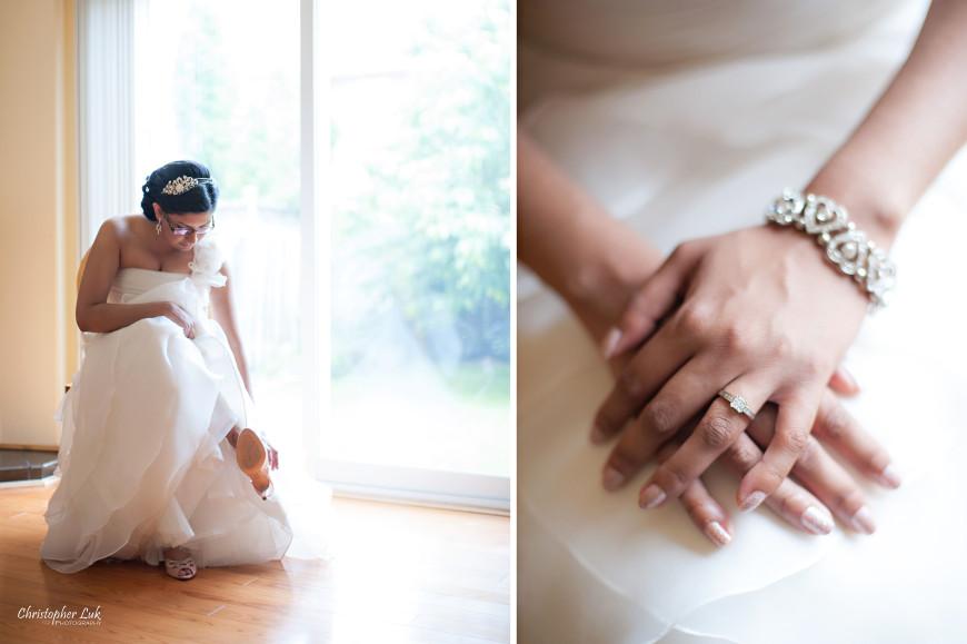 Christopher Luk 2013 - Dinithi and Steve's Wedding - Estates of Sunnybrook Markham Museum - Toronto Wedding Event Photographer - Bride Getting Ready Dress Gown Shoes Engagement Ring Nails Bracelet