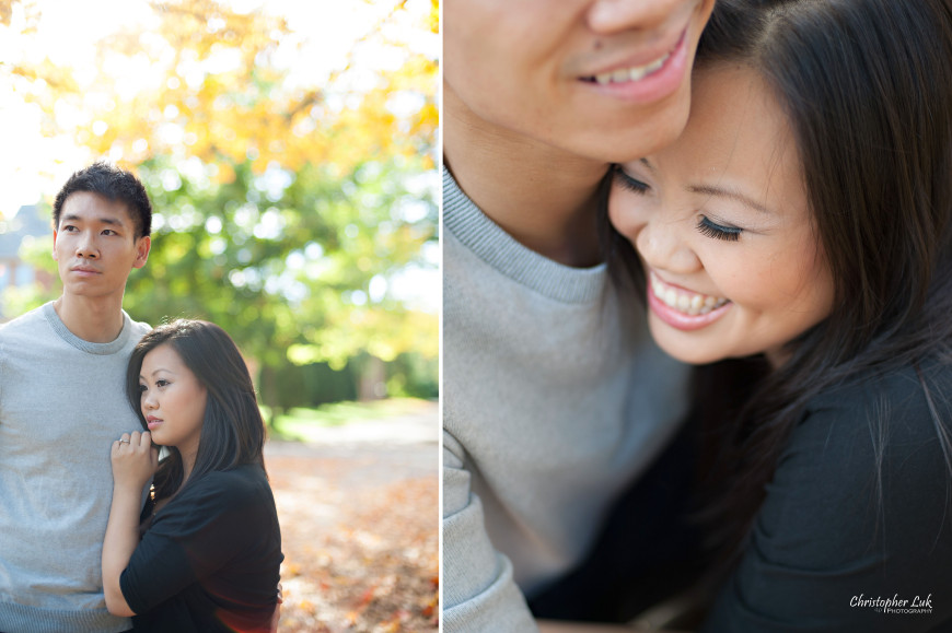 Christopher Luk 2013 - Sarah and Alex Engagement Session - York Region Markham Richmond Hill Toronto Stouffville Main Street Wedding Lifestyle Event Photographer - Bride and Groom Autumn Fall Maple Leaves Hug Smile Laugh
