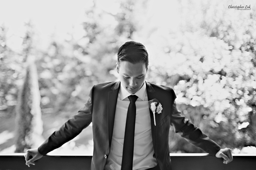 Christopher Luk 2013 - Yanto and Jon's Wedding - The Manor By Peter and Paul's - Toronto Wedding Event Photographer - Groom Creative Relaxed Portrait Back and White