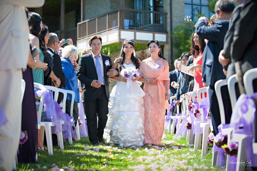 Christopher Luk 2013 - Yanto and Jon's Wedding - The Manor By Peter and Paul's - Toronto Wedding Event Photographer - Bride Family Father Mother Parents Walking Down the Aisle Outdoor Ceremony