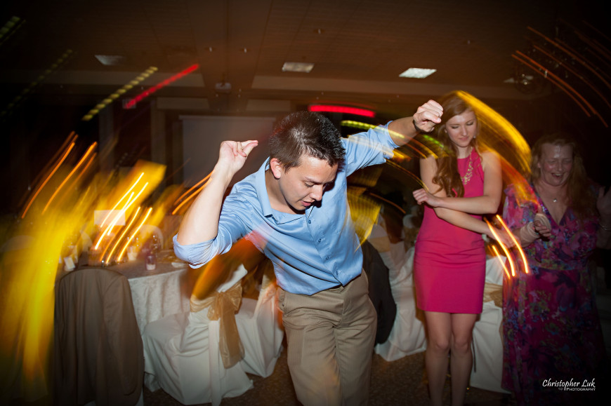 Christopher Luk 2013 - Yanto and Jon's Wedding - The Manor By Peter and Paul's - Toronto Wedding Event Photographer - Friends Guests Dancing Spin Snap Fingers