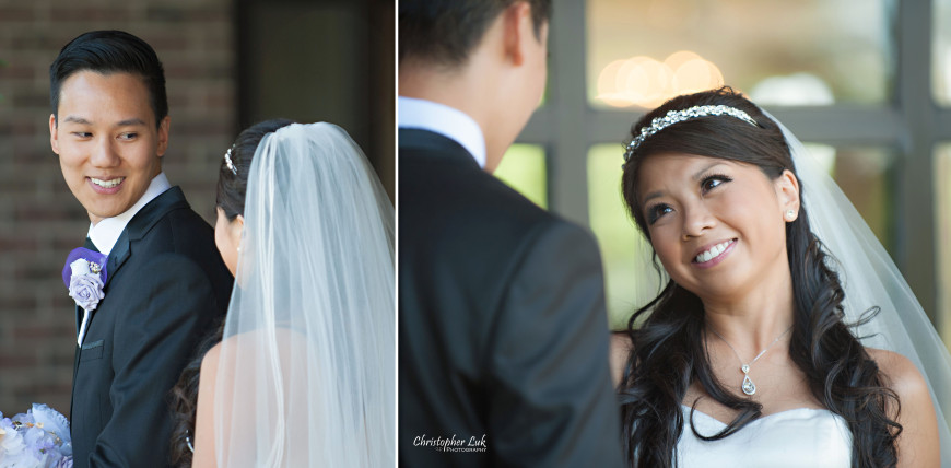 Christopher Luk 2013 - Yanto and Jon's Wedding - The Manor By Peter and Paul's - Toronto Wedding Event Photographer - Bride and Groom First Look Reveal Smile Surprise Before Ceremony