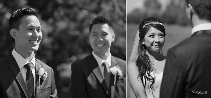 Christopher Luk 2013 - Yanto and Jon's Wedding - The Manor By Peter and Paul's - Toronto Wedding Event Photographer - Bride and Groom Best Man Reaction of Bride Walking Down the Aisle Ceremony Smile Cute Black and White