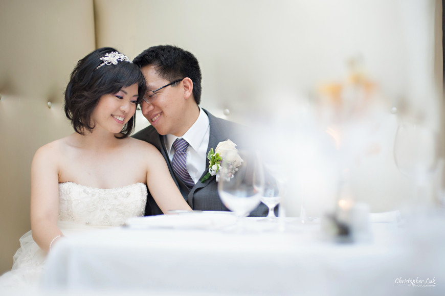 Christopher Luk 2013 - Grace and Victor's Wedding - Sassafraz Restaurant Yorkville Royal Ontario Museum Downtown Toronto Event Photographer - Bride and Groom Creative Natural Relaxed Portrait Session Candid Photojournalistic Sitting in Booth Hug