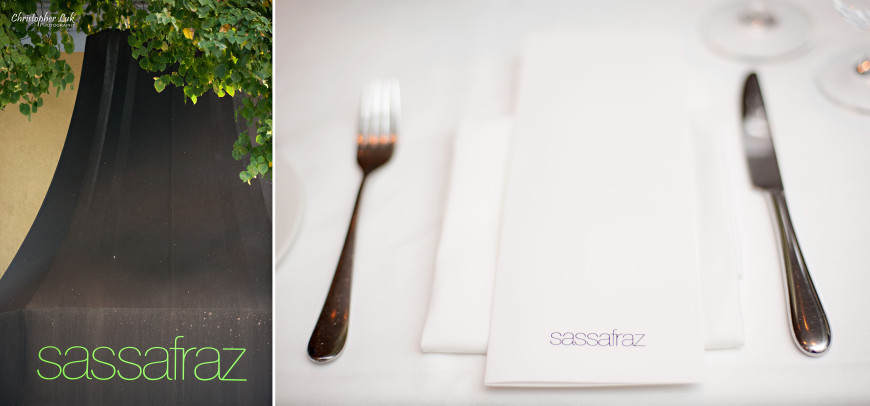 Christopher Luk 2013 - Grace and Victor's Wedding - Sassafraz Restaurant Yorkville Royal Ontario Museum Downtown Toronto Event Photographer - White Table Linen Silverware Flatware Tableware Interior Menu Setting Exterior Sign