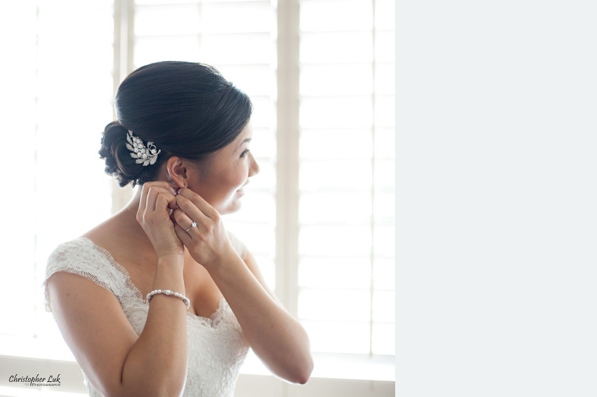 Christopher Luk 2013 - Victoria and Wallace's Wedding - Outdoor Summer Garden Wedding - Sala Caboto at The Columbus Event Centre - Bride Getting Ready Earrings White Dress Decorative Pearl Crystal Silver Hair Piece