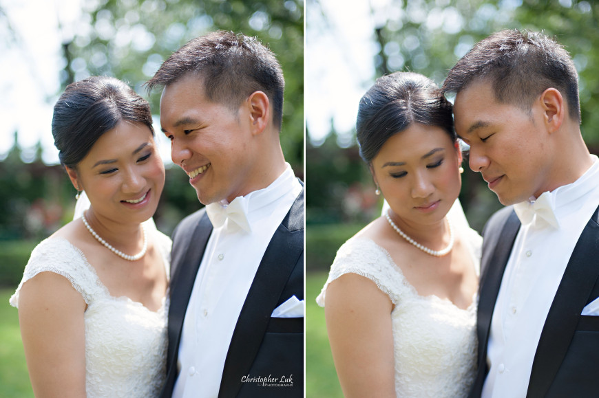Christopher Luk 2013 - Victoria and Wallace's Wedding - Outdoor Summer Garden Wedding - Sala Caboto at The Columbus Event Centre - Bride and Groom Creative Relaxed Natural Portrait Session Pearl Necklace Smile Laugh Intimate Hug