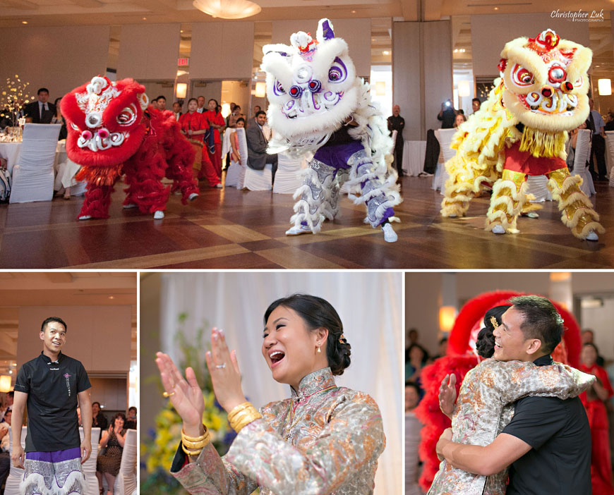 Christopher Luk 2013 - Victoria and Wallace's Wedding - Outdoor Summer Garden Wedding - Sala Caboto at The Columbus Event Centre - Bride and Groom Chinese Lion Dance Drumming Surprise Reaction Hug
