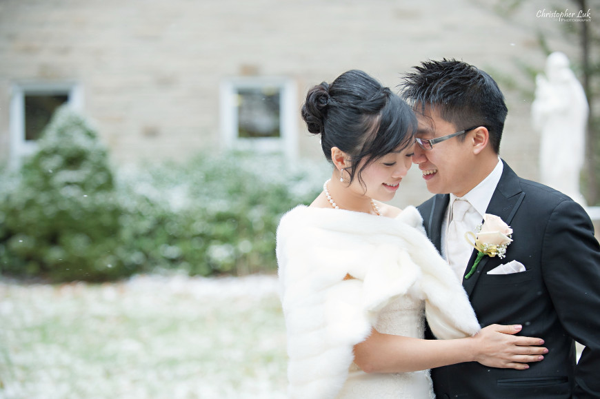 Christopher Luk 2013 - Carmen and Joshua's Winter Wedding - Tyndale University College & Seminary Chapel Carmelina Restaurant - Markham Scarborough Thornhill Toronto Wedding Event Lifestyle Photographer - Bride and Groom Creative Relaxed Portrait Session Superior Bridal Pronovias Hug Smile