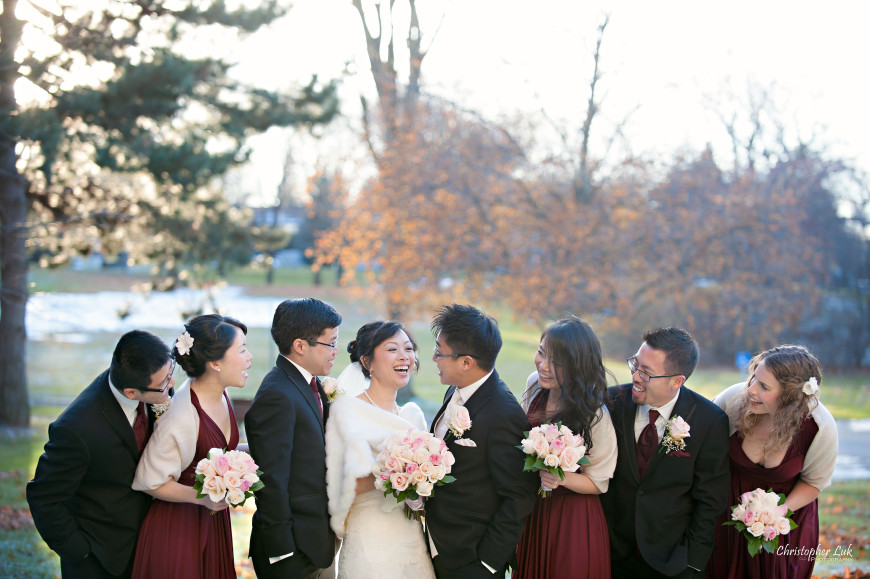Christopher Luk 2013 - Carmen and Joshua's Winter Wedding - Tyndale University College & Seminary Chapel Carmelina Restaurant - Markham Scarborough Thornhill Toronto Wedding Event Lifestyle Photographer - Bride and Groom Bridal Wedding Party Creative Relaxed Portrait Session Laugh Candid Photojournalistic Natural
