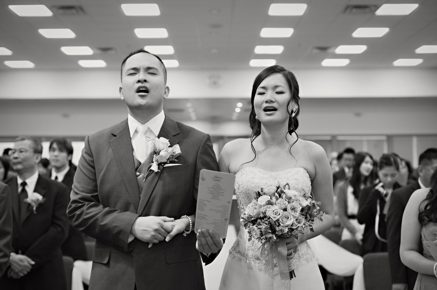 Christopher Luk 2013 - Esther and Johnson's Wedding - The Manor Event Venue By Peter and Pauls Hilton Markham Novotel Vaughan - Toronto Wedding Photographer - Bride and Groom Ceremony Chinese Evangelical Alliance Church of Toronto Singing Worship Black and White