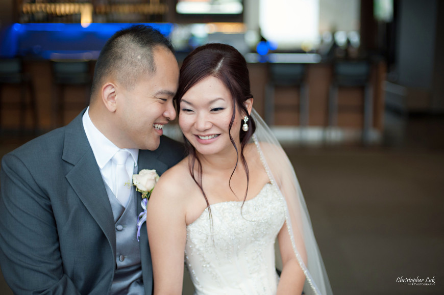 Christopher Luk 2013 - Esther and Johnson's Wedding - The Manor Event Venue By Peter and Pauls Hilton Markham Novotel Vaughan - Toronto Wedding Photographer - Bride and Groom Laugh Cute Smile Modern Creative Natural Relaxed Portrait Session