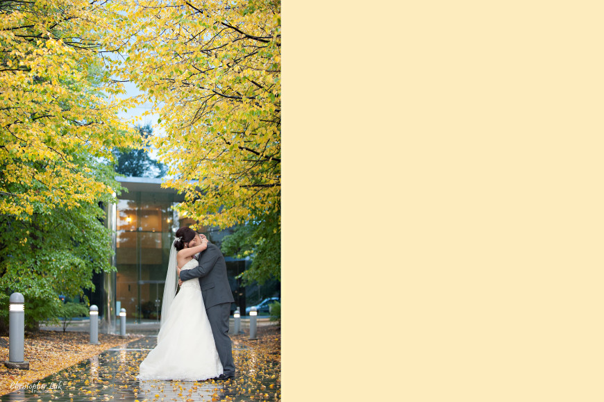 Christopher Luk 2013 - Esther and Johnson's Wedding - The Manor Event Venue By Peter and Pauls Hilton Markham Novotel Vaughan - Toronto Wedding Photographer - Bride and Groom Hug Autumn Fall Leaves Yellow Orange Pathway Creative Natural Relaxed Portrait Session