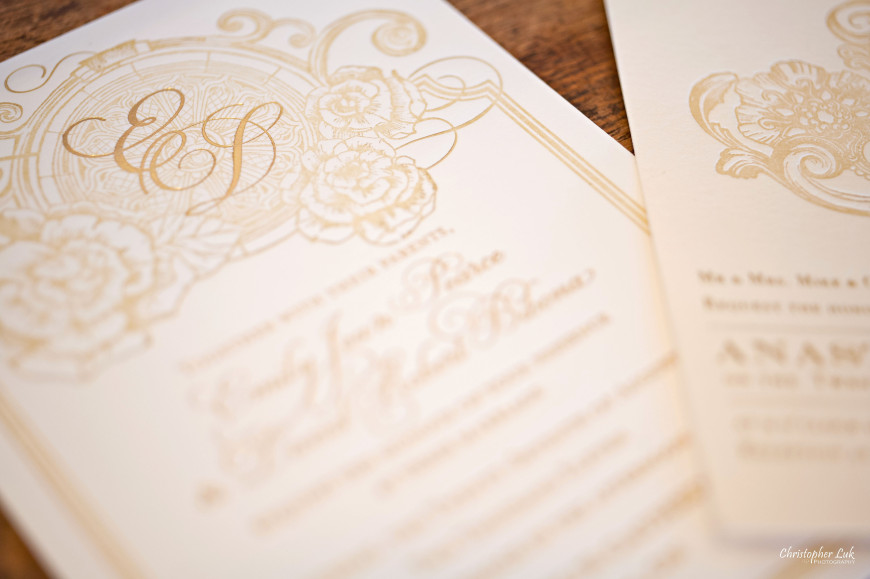 Christopher Luk 2011 - Wedding & Lifestyle Photographer - Deborah Lau-Yu of Palettera Custom Correspondences - Makers of Iconic Custom Event Stationery – Invitation Gold on White Letterpress