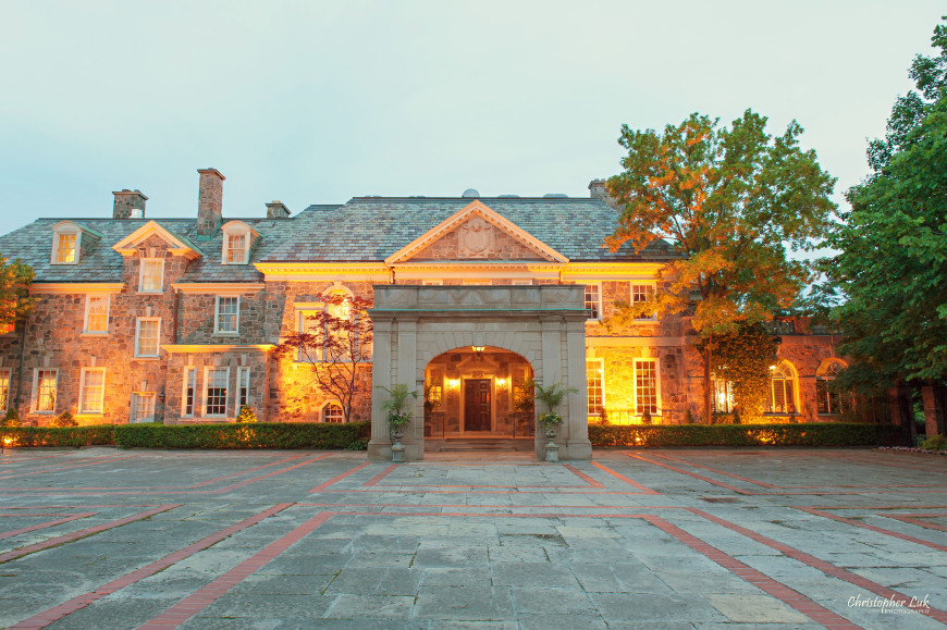 Christopher Luk - Toronto Wedding Portrait Event Photographer - Graydon Hall Manor - Front Exterior Evening Lighting Sunset Landscaping Estate Stone Windows Arched Entry