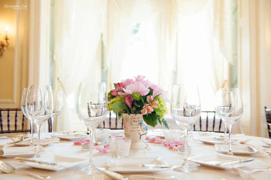 Christopher Luk - Toronto Wedding Portrait Event Photographer - Graydon Hall Manor - Floral Arrangements Centrepiece Pink Roses Peonies Lilies Billy Buttons Balls Daisies Craspedia Hydrangeas Flowers Vase Vintage Ceramic Table Setting Flatware Glassware Wine Glasses