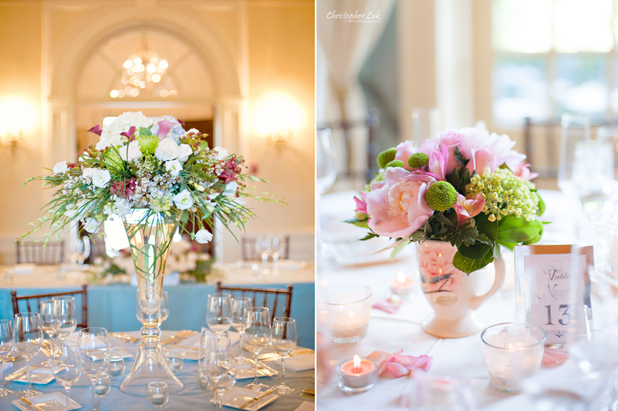 Christopher Luk - Toronto Wedding Portrait Event Photographer - Graydon Hall Manor - Floral Arrangements Centrepiece Pink Roses Peonies Lillies Billy Buttons Balls Daisies Craspedia Hydrangeas Wax Flowers Glass Vase Vintage Ceramic