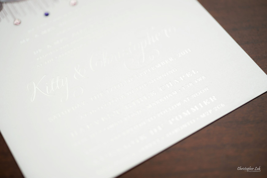 Christopher Luk - Wedding & Lifestyle Photographer - Deborah Lau-Yu of Palettera Custom Correspondences - Chris Kitty Letterpress Envelope Invitation Chandelier Swarovski Crystals Custom Monogram Letterhead Design Title Text Detail