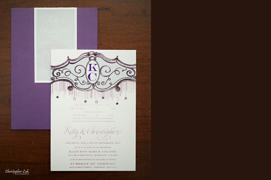 Christopher Luk - Wedding & Lifestyle Photographer - Deborah Lau-Yu of Palettera Custom Correspondences - Chris Kitty Letterpress Envelope Invitation Chandelier Swarovski Crystals Custom Monogram Letterhead Design Title Overhead Overview