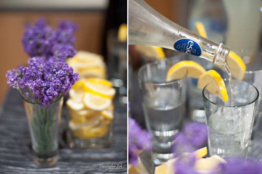 Christopher Luk Wedding - The Royal Conservatory of Music Wedding Event Performance Venue - Toronto Wedding & Event Photographer - Conservatory Theatre Ceremony Eska Water Drinks Cocktail Beverage Bar Lemon Lavender