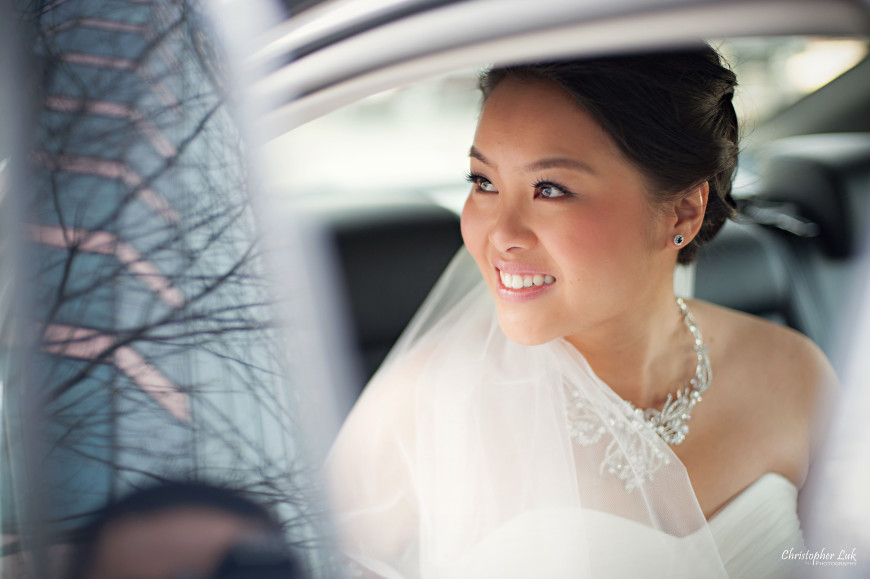 Christopher Luk 2014 - Keren and Mat's Wedding - Hilton Suites Conference Centre Spa Markham Museum Cornerstone Chinese Alliance Church Crystal Fountain - Toronto Wedding and Event Photographer - Bride Hotel Getting Ready Creative Relaxed Portrait Photojournalism Candid Natural Car Window
