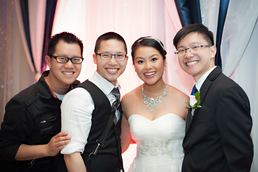 Christopher Luk 2014 - Keren and Mat's Wedding - Hilton Suites Conference Centre Spa Markham Museum Cornerstone Chinese Alliance Church Crystal Fountain - Toronto Wedding and Event Photographer - Bride and Groom with Christopher Luk and Glendon Tang