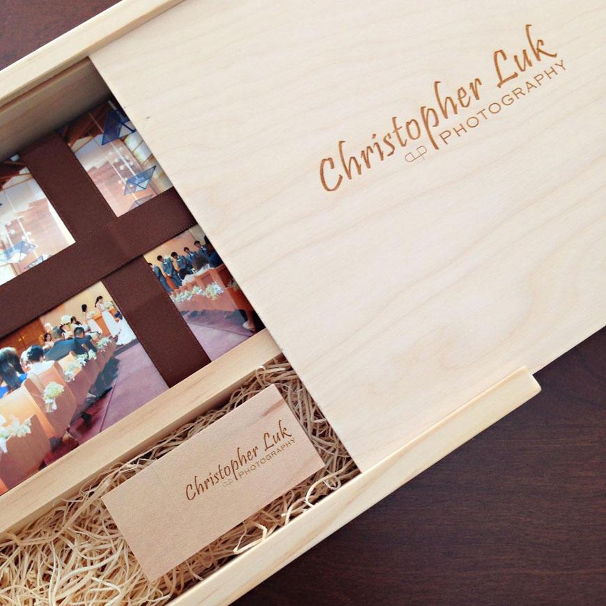 Christopher Luk 2014 - 4x6 Photo Print and Flash Drive Engraved Logo Maple Square Box Bundle Boutique Packaging Branding Kodak Endura Metallic Prints - Toronto Wedding and Event Photographer Square