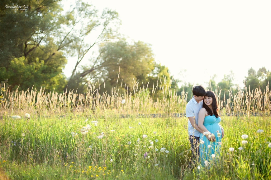 Christopher Luk 2014 - Michelle and Murray Cheng Maternity Lifestyle Session - Toronto Wedding Lifestyle Portrait Event Photographer - Tall Yellow Grass Smile Baby Bump Husband Wife Hug Wide