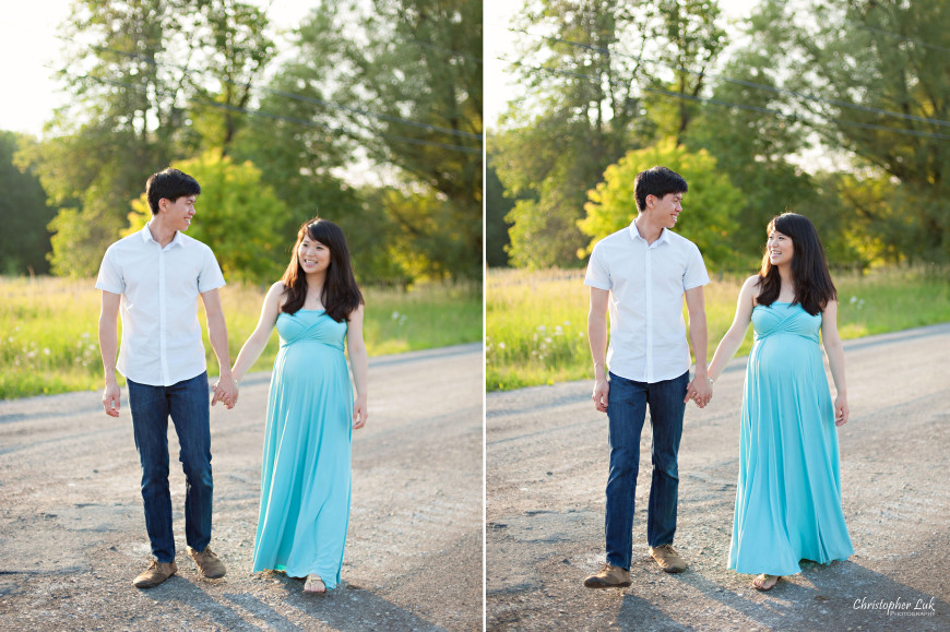 Christopher Luk 2014 - Michelle and Murray Cheng Maternity Lifestyle Session - Toronto Wedding Lifestyle Portrait Event Photographer - Tall Yellow Grass Smile Baby Bump Husband Wife Walking Laughing Candid Photojournalistic Relaxed Natural
