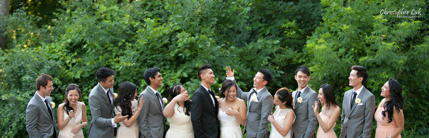 Christopher Luk 2014 - Sarah and Alex's Wedding - Trinity Presbyterian Church York Mills Alexander Muir Memorial Gardens Park Estates of Sunnybrook - Toronto Wedding Event Photographer - Bride and Groom Candid Natural Relaxed Photojournalistic Groomsmen Bridesmaids Bridal Party Funny Laugh