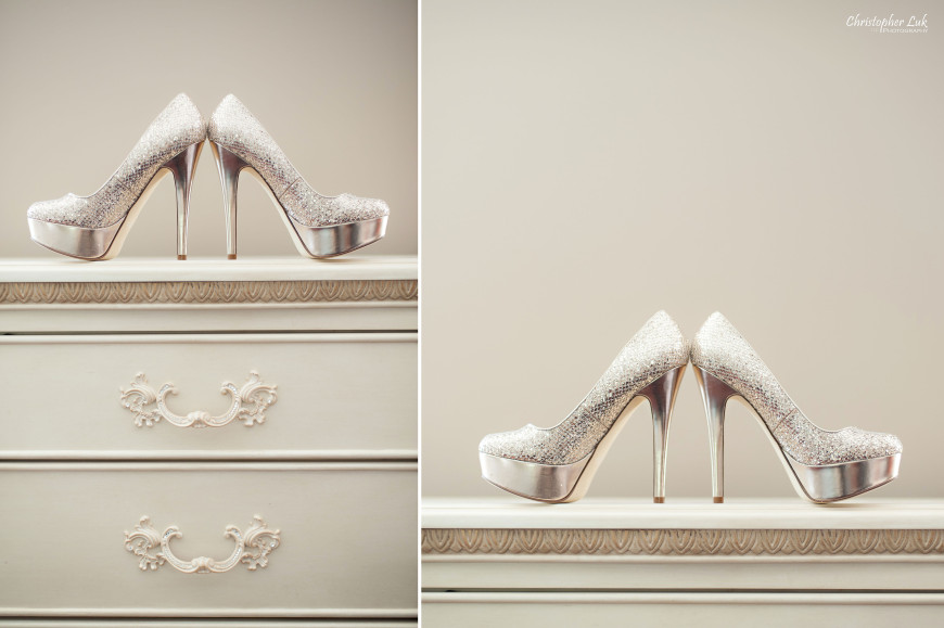 Christopher Luk 2014 - Sarah and Alex's Wedding - Trinity Presbyterian Church York Mills Alexander Muir Memorial Gardens Park Estates of Sunnybrook - Toronto Wedding Event Photographer - Bride Getting Ready Gold Champagne Crystal Evening Pumps Platforms Stilettos Shoes