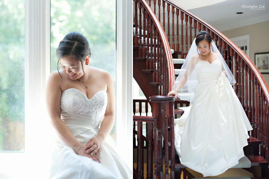 Christopher Luk 2014 - Sarah and Alex's Wedding - Trinity Presbyterian Church York Mills Alexander Muir Memorial Gardens Park Estates of Sunnybrook - Toronto Wedding Event Photographer - Bride Getting Ready Creative Relaxed Natural Portrait Staircase Stairs