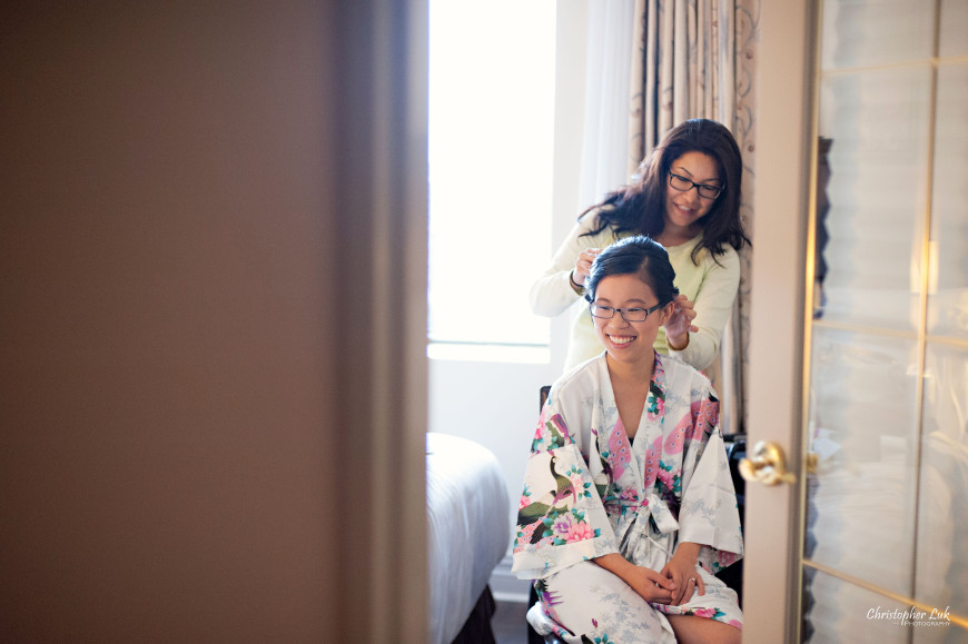Christopher Luk 2014 - Candy and Francis' Wedding - Grand Hotel Berkeley Field House Evergreen Brick Works - Toronto Wedding Event Photographer - Bride Getting Ready Hair Stylist Makeup Artist Candid Natural Photojournalistic Floral Print Kimono Robe