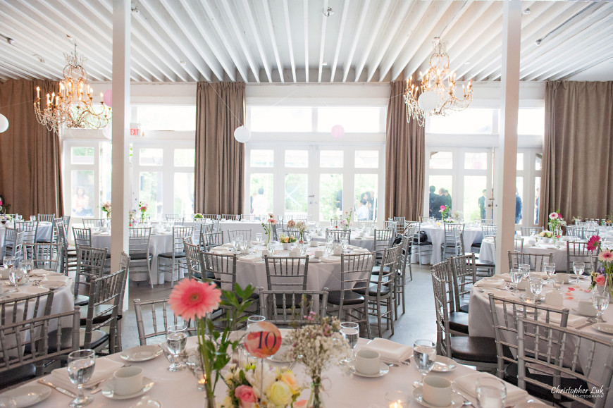 Christopher Luk 2014 - Candy and Francis' Wedding - Grand Hotel Berkeley Field House Evergreen Brick Works - Toronto Wedding Event Photographer - Reception Venue Outdoor Tent Interior Indoor Fieldhouse Wide Room Curtains Chiavari Chairs Gerbera Daisy Centrepieces Width