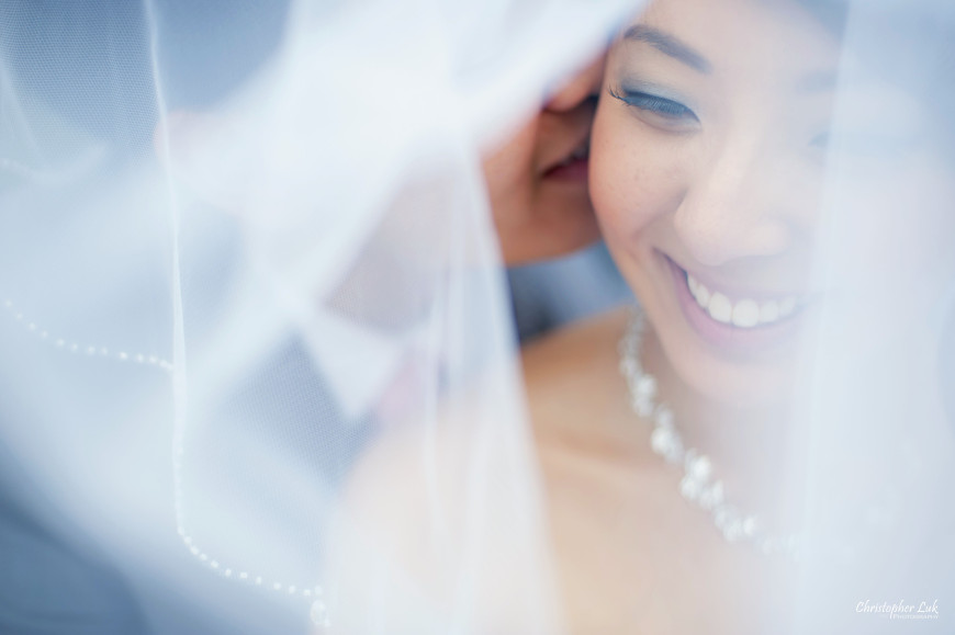 Christopher Luk 2014 - Heidi and Ming-Yun's Wedding - Courtyard Marriott Markham Thornhill Presbyterian Church Chinese Cuisine - Bride and Groom Creative Portrait Session Natural Candid Photojournalistic Covered Veil Kiss Smile