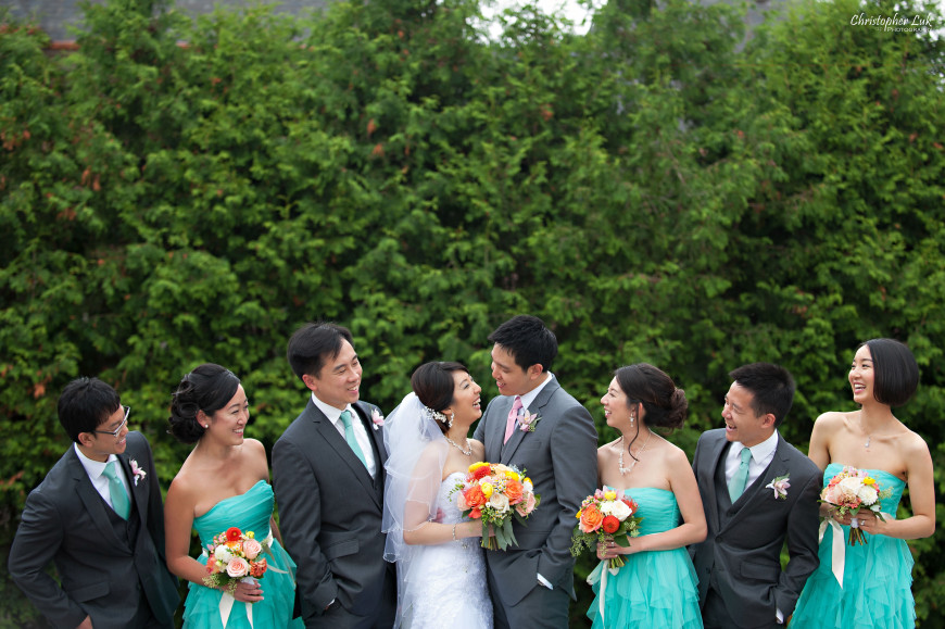 Christopher Luk 2014 - Heidi and Ming-Yun's Wedding - Courtyard Marriott Markham Thornhill Presbyterian Church Chinese Cuisine - Bridal Party Bride Groom Groomsmen Bridesmaids Creative Relaxed Portrait Session Candid Photojournalistic Natural Happy Laugh