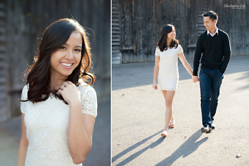 Christopher Luk 2014 - Karen and Scott's Engagement Session - Riverdale Farm - Toronto Wedding Event Photographer - Bride and Groom Natural Relaxed Portraits Smile Walking Barn Sunset