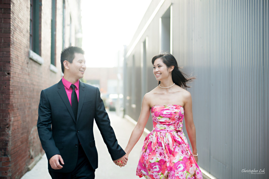 Christopher Luk 2014 - Shauna and Charles' Engagement Session - Liberty Village Toronto Wedding Event Photographer - Bride and Groom Natural Candid Photojournalistic Happy Smile Laugh Walking Wind in Hair Industrial Alley Alleyway